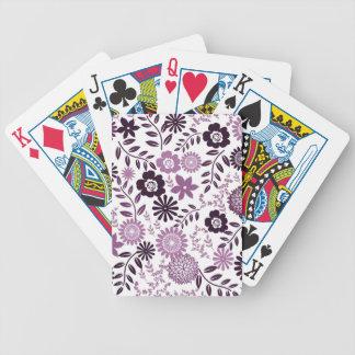 Lavender and dark purple pattern floral poker deck