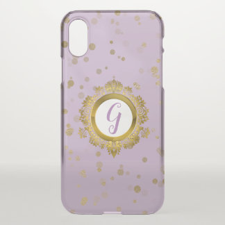 Lavender and Gold Monogrammed iPhone X Case