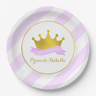Lavender and Gold Princess Birthday Party 9 Inch Paper Plate