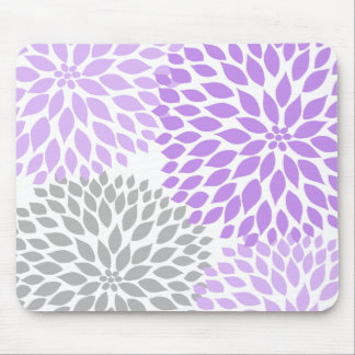 Lavender and gray dahlia desk office accessory mouse pad