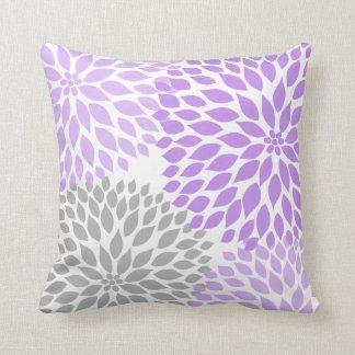 Lavender and Gray Dahlia modern decor sofa pillow Throw Cushion