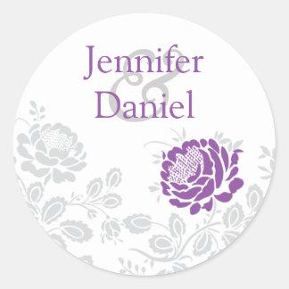 Lavender and Gray Damask Envelope Seal Round Sticker