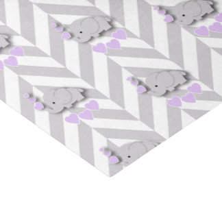 Lavender and Gray Elephant Baby Shower Tissue Paper