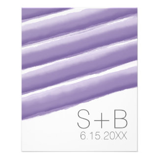 Lavender and Gray Watercolor Stripes Wedding 11.5 Cm X 14 Cm Flyer