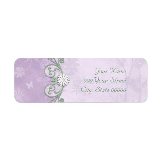 Lavender and Green Spring Floral Wedding Return Address Label