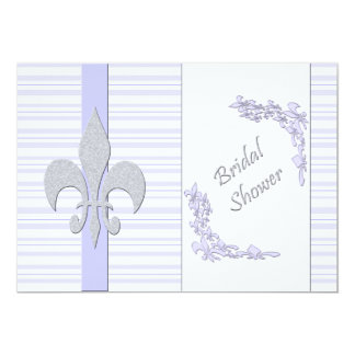 Lavender and Grey Fleur de Lis Bridal Shower Card