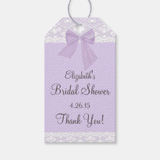 Lavender and Lace Bridal Shower Guest Favor Gift Tags