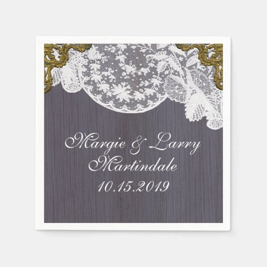 Lavender and Lace Vintage Paper Napkin