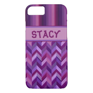 Lavender and Maroon Chevrons Customisable iPhone 8/7 Case