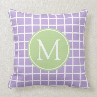 Lavender and Mint Green Lattice Monogram Cushion