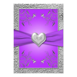 Lavender and Pewter Heart Monogrammed Invitation