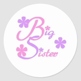 Lavender and Pink Big Sister Round Sticker