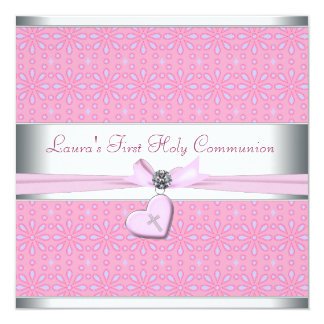 Lavender and Pink Heart Pink Cross First Communion 13 Cm X 13 Cm Square Invitation Card