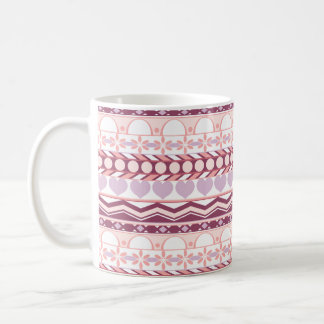 lavender and pink horizontal striped aztec pattern coffee mugs