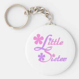 Lavender and Pink Little Sister Basic Round Button Key Ring