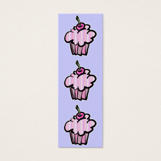lavender and pink stripes cupcake bookmark mini business card