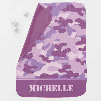Lavender and Purple Camouflage   Personalized Baby Blanket