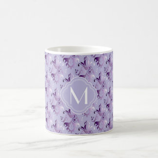 Lavender and Purple Damask Pattern with Monogram Coffee Mug
