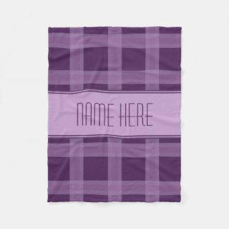 Lavender And Purple Plaid Custom Name Blanket