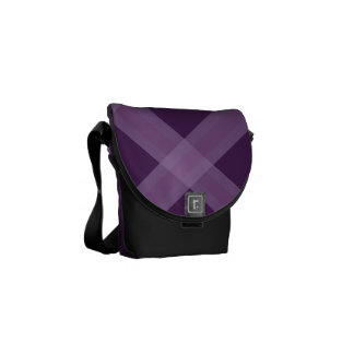 Lavender And Purple Plaid Pattern Bag Courier Bags
