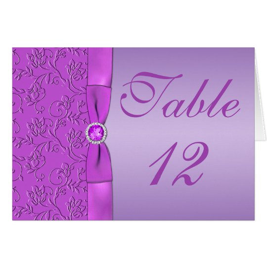 Lavender and Purple Table Number Card