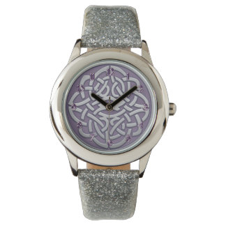 Lavender and Silver Glitter Celtic Knot Watch