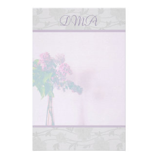 Lavender and Silver Gray Floral Stationary Stationery