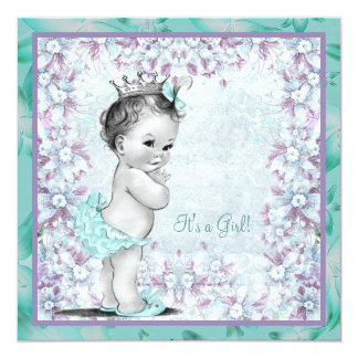 Lavender and Teal Blue Baby Girl Shower 13 Cm X 13 Cm Square Invitation Card