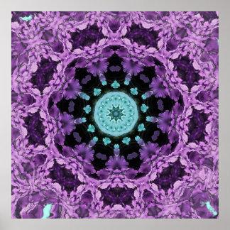 Lavender and Turquoise Leaf Mandala Poster