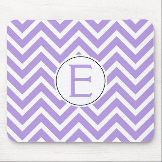Lavender and White Chevron Pattern with Initial Mouse Pad