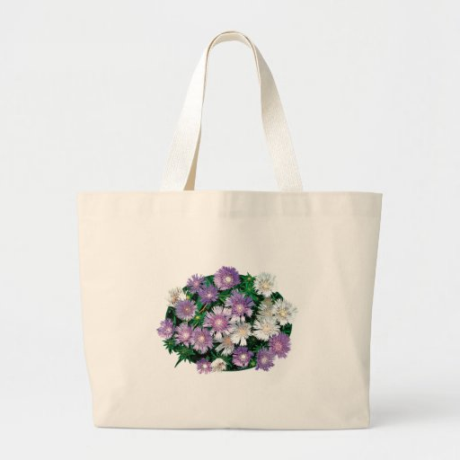 Lavender and White Stokes Asters Tote Bag