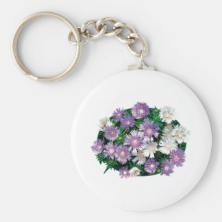 Lavender and White Stokes Asters Key Chains