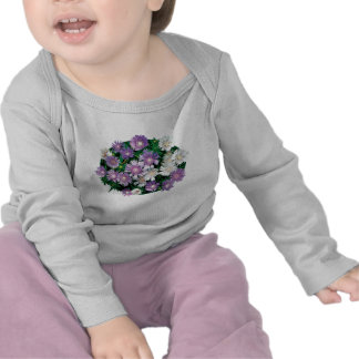 Lavender and White Stokes Asters Kids Tshirt