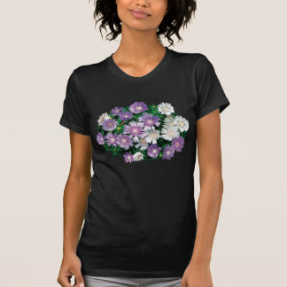 Lavender and White Stokes Asters Ladies Tee Shirts
