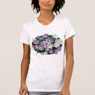 Lavender and White Stokes Asters Ladies Tshirts