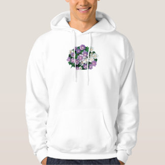Lavender and White Stokes Asters Mens Hoodie