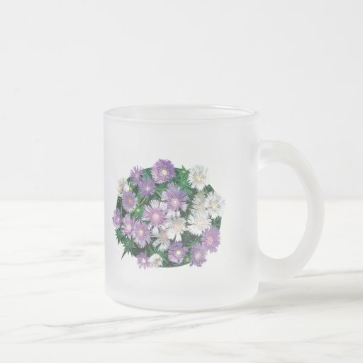 Lavender and White Stokes Asters Coffee Mug