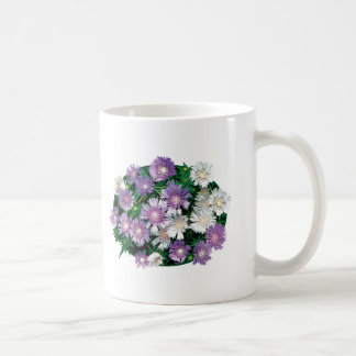 Lavender and White Stokes Asters Basic White Mug