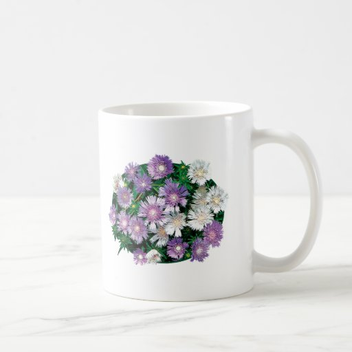 Lavender and White Stokes Asters Mug