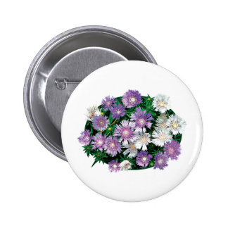 Lavender and White Stokes Asters Pinback Buttons