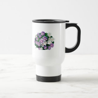 Lavender and White Stokes Asters Stainless Steel Travel Mug
