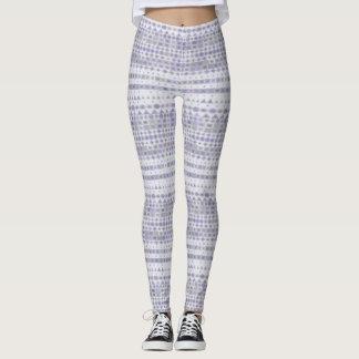 Lavender and White Stripes leggings