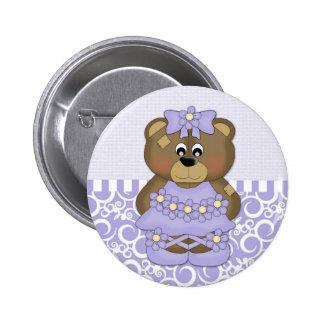 Lavender Ballerina Bear Button