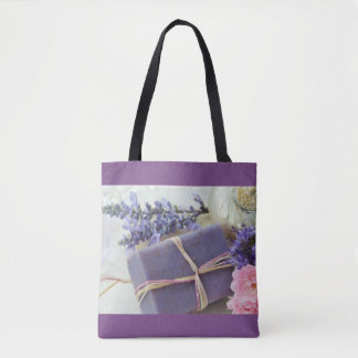 Lavender Beauty Bar with Flowers Tote Bag