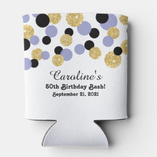 Lavender, Black and Gold Glitter Confetti | 50th Can Cooler