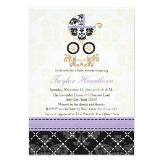 LAVENDER BLACK DAMASK BABY CARRIAGE BABY SHOWER 13 CM X 18 CM INVITATION CARD