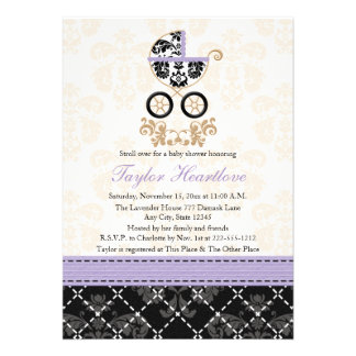 LAVENDER BLACK DAMASK BABY CARRIAGE BABY SHOWER ANNOUNCEMENTS