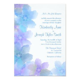Lavender Blue Floral Wedding Invitation 5x7