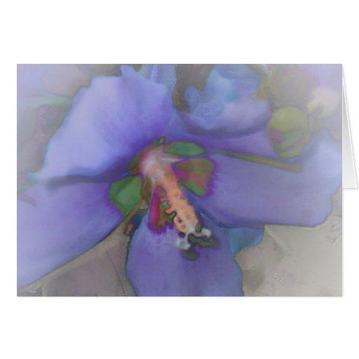 Lavender Blue Hibiscus Greeting Cards