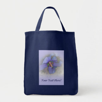 Lavender Blue Hibiscus Grocery Tote Bag
